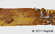 Physical Panoramic Map of Guna-Guna