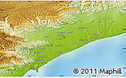 """Physical Map of the area around 14°46'42""""N,49°22'30""""E"""