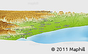 """Physical Panoramic Map of the area around 14°46'42""""N,49°22'30""""E"""