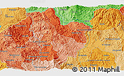 """Political 3D Map of the area around 14°46'42""""N,87°28'29""""W"""