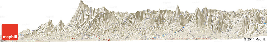 """Shaded Relief Horizon Map of the Area around 14° 46' 42"""" N, 91° 43' 29"""" W"""