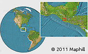 """Satellite Location Map of the area around 14°46'42""""N,91°43'29""""W"""