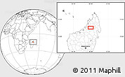 """Blank Location Map of the area around 14°56'57""""S,48°31'29""""E"""