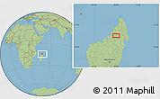 "Savanna Style Location Map of the area around 14°56'57""S,48°31'29""E"