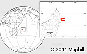 """Blank Location Map of the area around 14°56'57""""S,51°4'30""""E"""