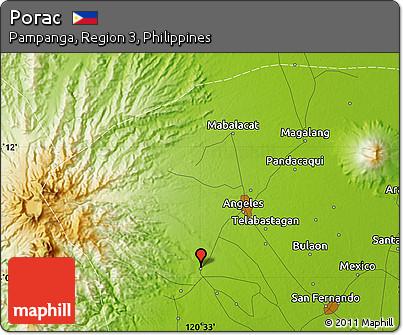 Free Physical Map Of Porac - Porac map