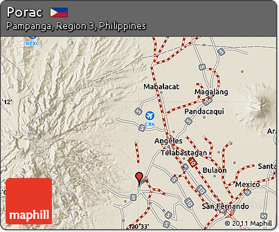 Free Shaded Relief Map Of Porac - Porac map