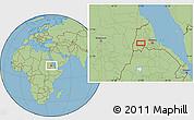 Savanna Style Location Map of Augana