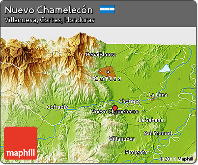 Physical 3D Map of Nuevo Chamelecón