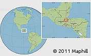 """Savanna Style Location Map of the area around 15°17'31""""N,89°10'30""""W"""
