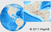 """Shaded Relief Location Map of the area around 15°17'31""""N,89°10'30""""W"""