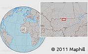 Gray Location Map of Beïdat, hill shading