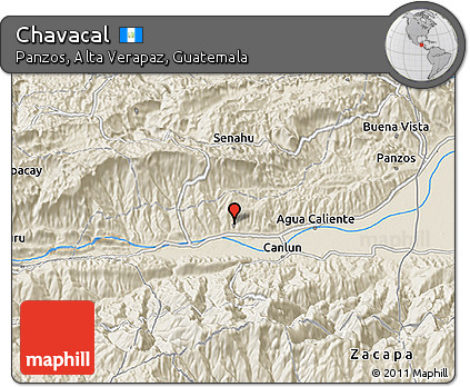 Shaded Relief 3D Map of Chavacal