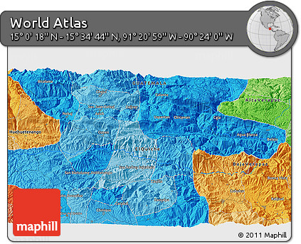 """Political 3D Map of the Area around 15°17'31""""N,90°52'30""""W"""