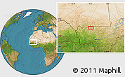 """Satellite Location Map of the area around 15°17'31""""N,9°16'30""""W"""