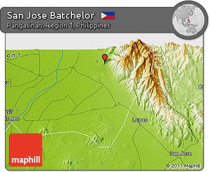 Free Physical 3D Map of San Jose Batchelor