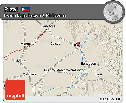 Rizal Philippines Map.Free Shaded Relief 3d Map Of Rizal