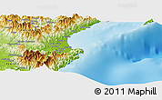 """Physical Panoramic Map of the area around 15°48'18""""N,121°37'30""""E"""