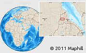 Shaded Relief Location Map of Adi Ali Bakit