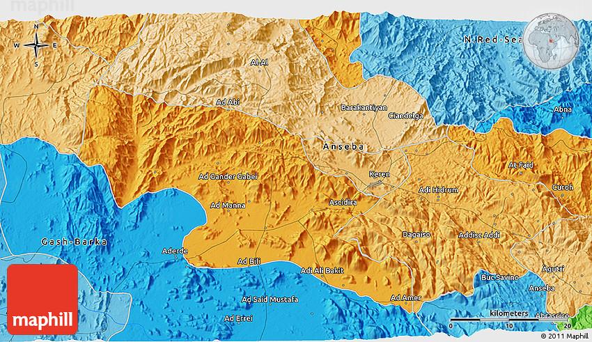 Political 3D Map of Keren
