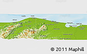 """Physical Panoramic Map of the area around 15°48'18""""N,84°55'30""""W"""
