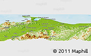 "Physical Panoramic Map of the area around 15° 48' 18"" N, 85° 46' 30"" W"