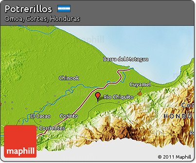 Physical 3D Map of Potrerillos
