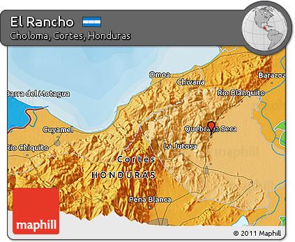 Political 3D Map of El Rancho