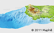 """Physical Panoramic Map of the area around 15°27'46""""S,166°40'30""""E"""