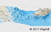 """Shaded Relief Panoramic Map of the area around 15°27'46""""S,167°31'30""""E"""