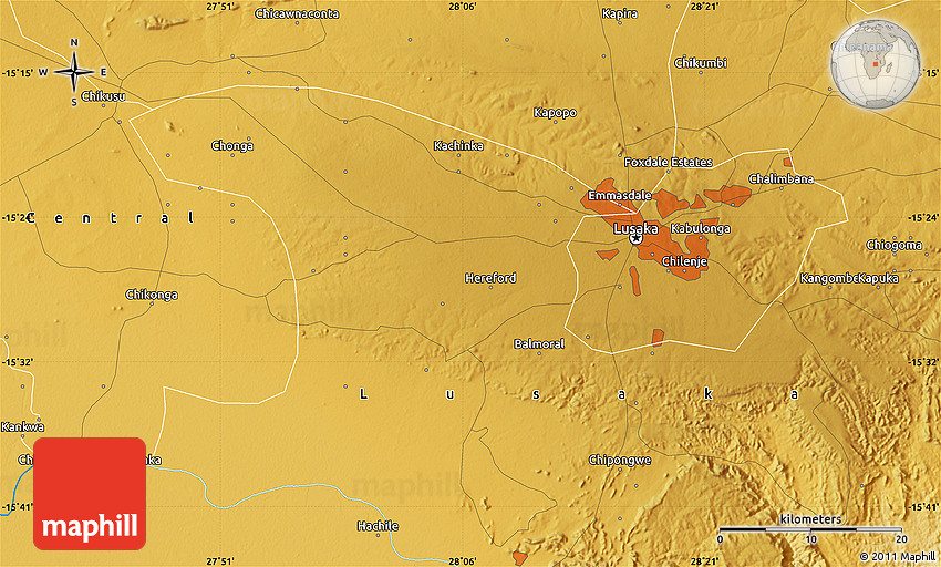 Physical Map of Lusaka