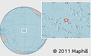 """Gray Location Map of the area around 15°58'32""""S,152°4'29""""W, hill shading"""