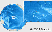 """Shaded Relief Location Map of the area around 15°58'32""""S,152°4'29""""W"""