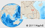 """Shaded Relief Location Map of the area around 16°19'2""""N,105°28'29""""E"""