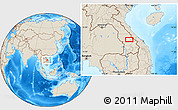 """Shaded Relief Location Map of the area around 16°19'2""""N,106°19'29""""E"""