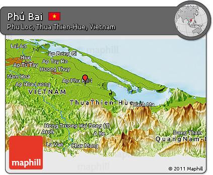 Free Physical Panoramic Map Of Phu Bai