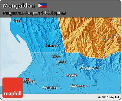 Political 3D Map of Mangaldan