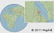 Savanna Style Location Map of Ciabbub Areddu, hill shading