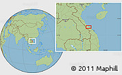 "Savanna Style Location Map of the area around 16°49'43""N,107°10'30""E"