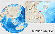 """Shaded Relief Location Map of the area around 16°49'43""""N,107°10'30""""E"""