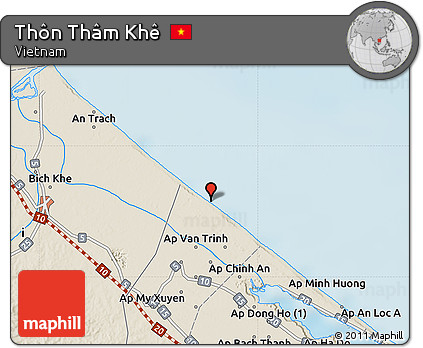 Lai Khe Vietnam Map.Free Shaded Relief Map Of Thon Tham Khe