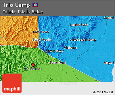 Political 3D Map of Trio Camp