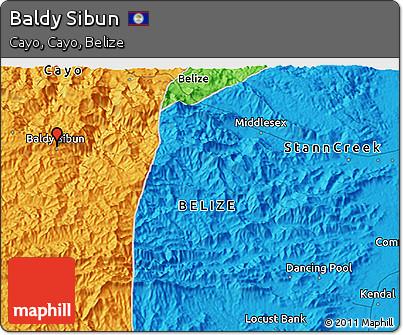 Political 3D Map of Baldy Sibun