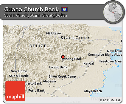 Shaded Relief Panoramic Map of Guana Church Bank