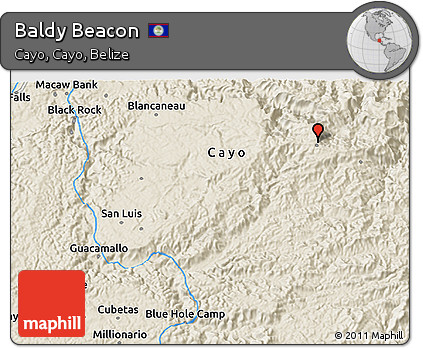 Shaded Relief 3D Map of Baldy Beacon
