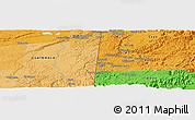 Political Panoramic Map of Los Lirios Camp