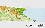 """Physical Panoramic Map of the area around 16°29'14""""S,145°25'30""""E"""