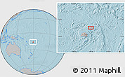 """Gray Location Map of the area around 16°29'14""""S,179°16'30""""E, hill shading"""