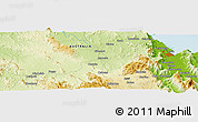 """Physical Panoramic Map of the area around 16°59'54""""S,145°25'30""""E"""