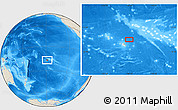 "Shaded Relief Location Map of the area around 16° 59' 54"" S, 148° 40' 30"" W"